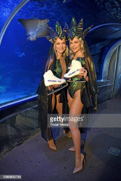 Valentina Pahde and her twin sister Cheyenne Pahde during the 'Holiday on Ice - Atlantis' photocall at Sea Life on January 21, 2019 in Berlin,...