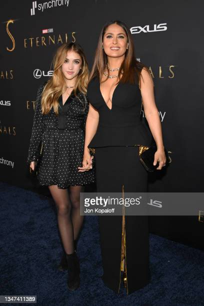 Valentina Paloma Pinault and Salma Hayek arrive for the World Premiere of Marvel Studios' Eternals at the El Capitan Theatre in Hollywood on October...