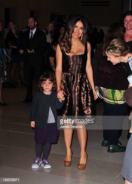 Valentina Paloma Pinault and Salma Hayek attend the Puss In Boots New York screening at The Hearst Tower on October 24 2011 in New York City