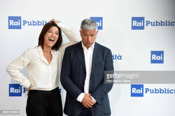 Valentina Petrini and Enrico Lucci attend the Rai show schedule presentation at Statale University of Milan on June 28 2017 in Milan Italy