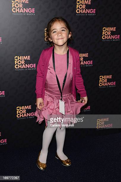 """Valentina Pinault arrives at the Royal Box photo wall ahead of the """"Chime For Change: The Sound Of Change Live"""" Concert at Twickenham Stadium on June..."""