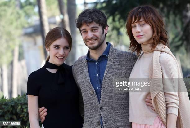 Valentina Romani Lino Guanciale and Gabriella Pession attend a photocall for 'La Porta Rossa' fiction Rai at Villa Borghese on February 15 2017 in...