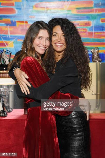 Valentina Scambia and Afef Jnifen are seen at the Alevi' presentation during Milan Fashion Week Fall/Winter 2018/19 on February 23 2018 in Milan Italy