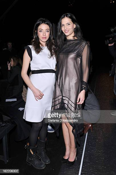 Valentina Scambia and Nathalie Dompe attend the Gucci fashion show as part of Milan Fashion Week Womenswear Fall/Winter 2013/14 on February 20 2013...