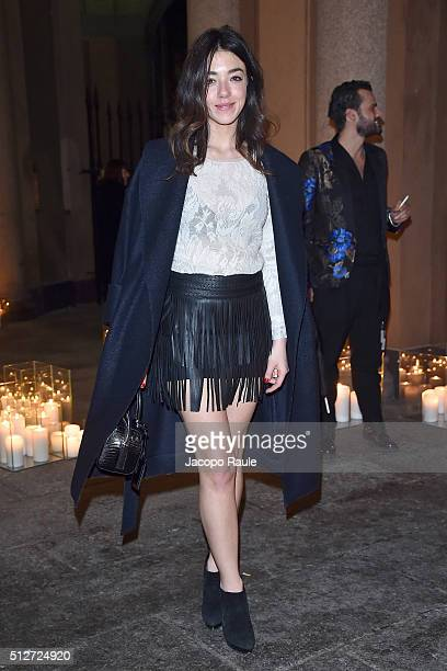 Valentina Scambia attends Vogue Cocktail Party honoring photographer Mario Testino on February 27 2016 in Milan Italy