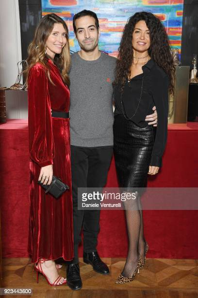 Valentina Scambia Mohammed Al Turki and Afef Jnifen are seen at the Alevi' presentation during Milan Fashion Week Fall/Winter 2018/19 on February 23...