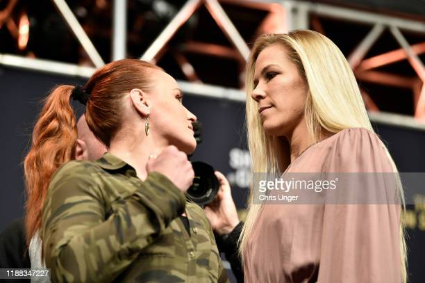 Valentina Shevchenko and Katlyn Chookagian during the UFC 247 Press Conference at TMobile Arena on December 13 2019 in Las Vegas Nevada