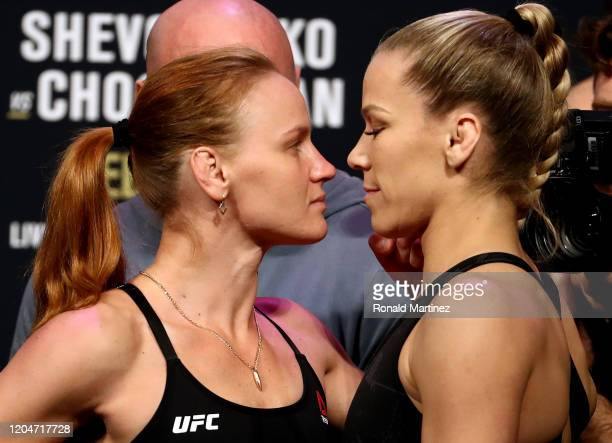 Valentina Shevchenko and Katlyn Chookagian face off during the UFC 247 ceremonial weighin at Toyota Center on February 07 2020 in Houston Texas