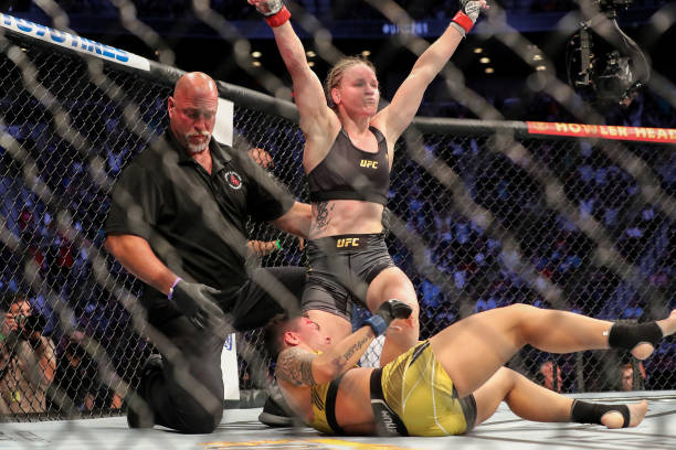 Valentina Shevchenko of Kyrgystan celebrates after beating Jessica Andrade of Brazil during the Womens Flyweight Title bout of UFC 261 at VyStar...