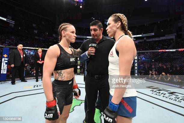 Valentina Shevchenko of Kyrgyzstan and Katlyn Chookagian face off prior to their women's flyweight championship bout during the UFC 247 event at...