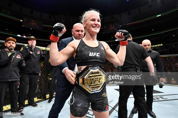 Valentina Shevchenko of Kyrgyzstan celebrates her KO victory over Jessica Eye in their women's flyweight championship bout during the UFC 238 event...