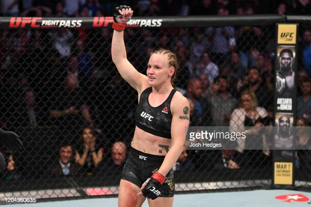 Valentina Shevchenko of Kyrgyzstan celebrates her TKO victory over Katlyn Chookagian in their women's flyweight championship bout during the UFC 247...