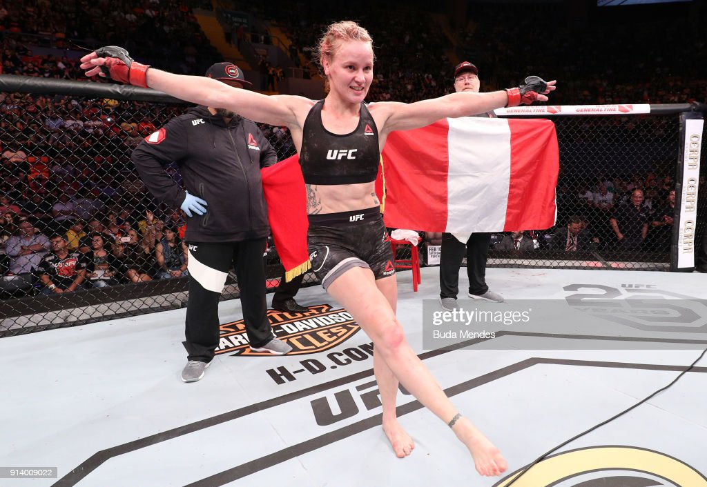 Valentina Shevchenko of Kyrgyzstan celebrates her victory over Priscila Cachoeira of Brazil in their women's flyweight bout during the UFC Fight Night event at Mangueirinho Arena on February 03, 2018 in Belem, Brazil.
