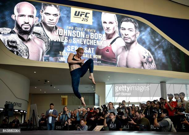 Valentina Shevchenko of Kyrgyzstan holds an open workout session for fans and media at Rogers Place on September 7 2017 in Edmonton Alberta Canada