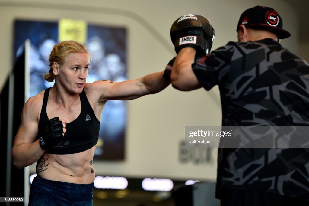 Valentina Shevchenko of Kyrgyzstan holds an open workout session for fans and media at Rogers Place on September 7, 2017 in Edmonton, Alberta, Canada.