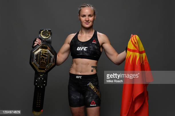 Valentina Shevchenko of Kyrgyzstan poses for a portrait backstage during the UFC 247 event at Toyota Center on February 08, 2020 in Houston, Texas.