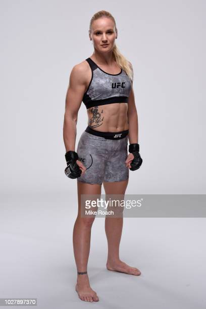 Valentina Shevchenko of Kyrgyzstan poses for a portrait during a UFC photo session on September 5 2018 in Dallas Texas
