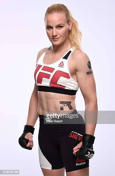 Valentina Shevchenko of Kyrgyzstan poses for a portrait during a UFC photo session at the Crowne Plaza Chicago Metro Downtown on July 19 2016 in...
