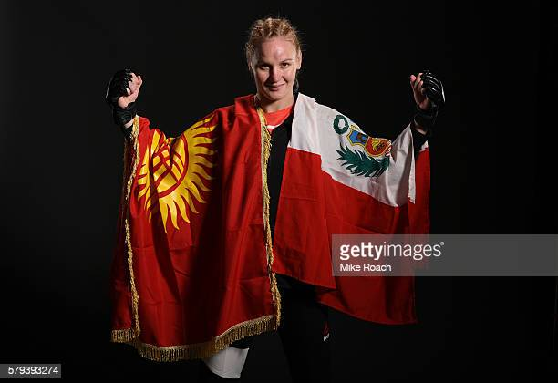 Valentina Shevchenko of Kyrgyzstan poses for a post fight portrait after defeating Holly Holm by unanimous decision during the UFC Fight Night event...