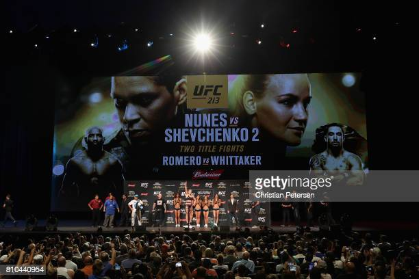 Valentina Shevchenko of Kyrgyzstan poses on the scale during the UFC weighin at the Park Theater on July 7 2017 in Las Vegas Nevada