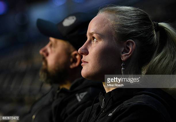 Valentina Shevchenko of Kyrgyzstan relaxes backstage prior to the UFC Fight Night weighin at the Pepsi Center on January 27 2017 in Denver Colorado