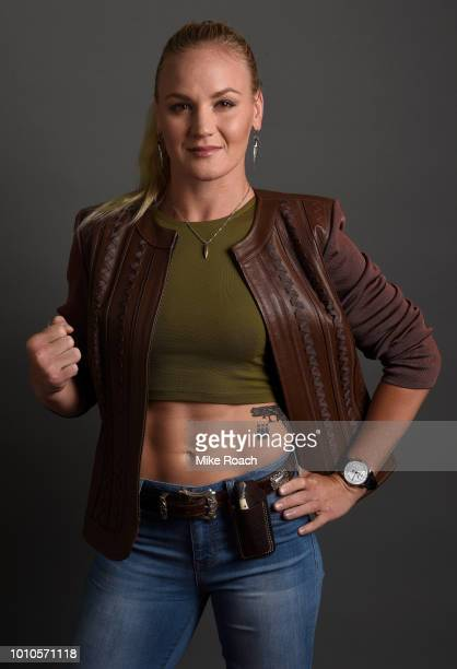 Valentina Shevchenko poses for a portrait backstage prior to the UFC press conference inside the Orpheum Theater on August 3 2018 in Los Angeles...