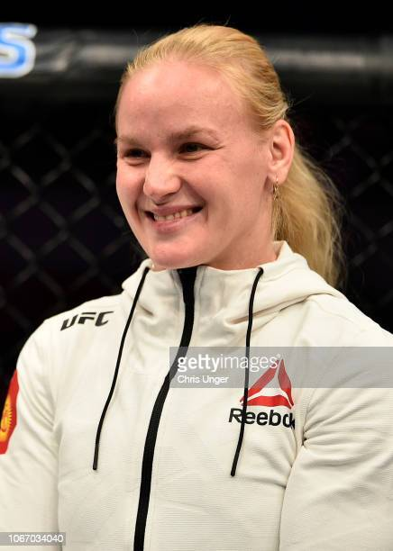 Valentina Shevchenko reacts after her sister Antonina's victory during The Ultimate Fighter Finale event inside The Pearl concert theater at Palms...
