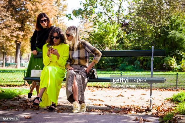 Valentina Siragusa, Eleonora Carisi and Linda Tol are seen after the Issey Miyake show at the Grand Palais during Paris Fashion Week Womenswear SS18...