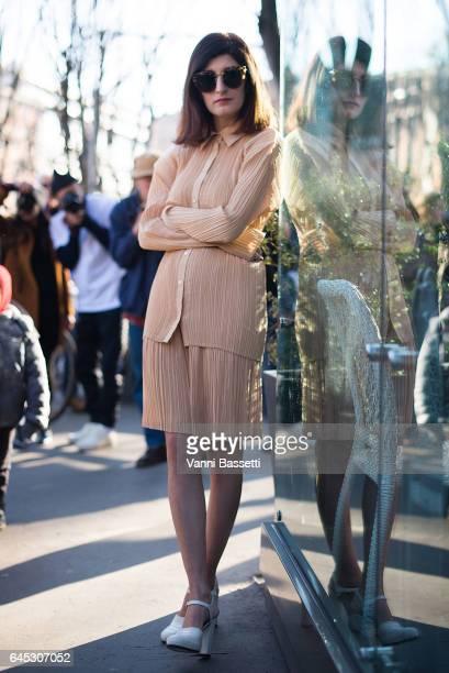 Valentina Siragusa poses wearing Jil Sander before the Jil Sander show during Milan Fashion Week Fall/Winter 2017/18 on February 25, 2017 in Milan,...