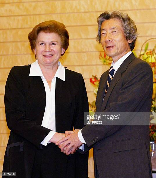 Valentina Tereshkova former Russian astronaut shakes hands with Japanese Prime Minister Junichiro Koizumi as she pays a courtesy call at the prime...