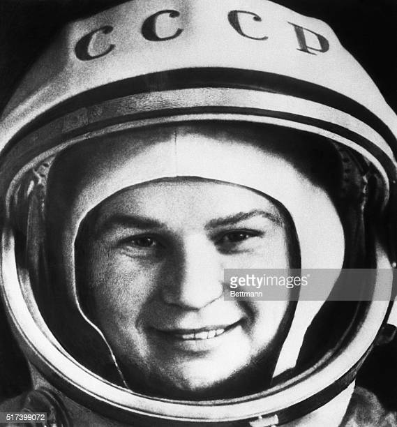 Valentina Tereshkova the first woman sent into space is shown wearing a space helmet
