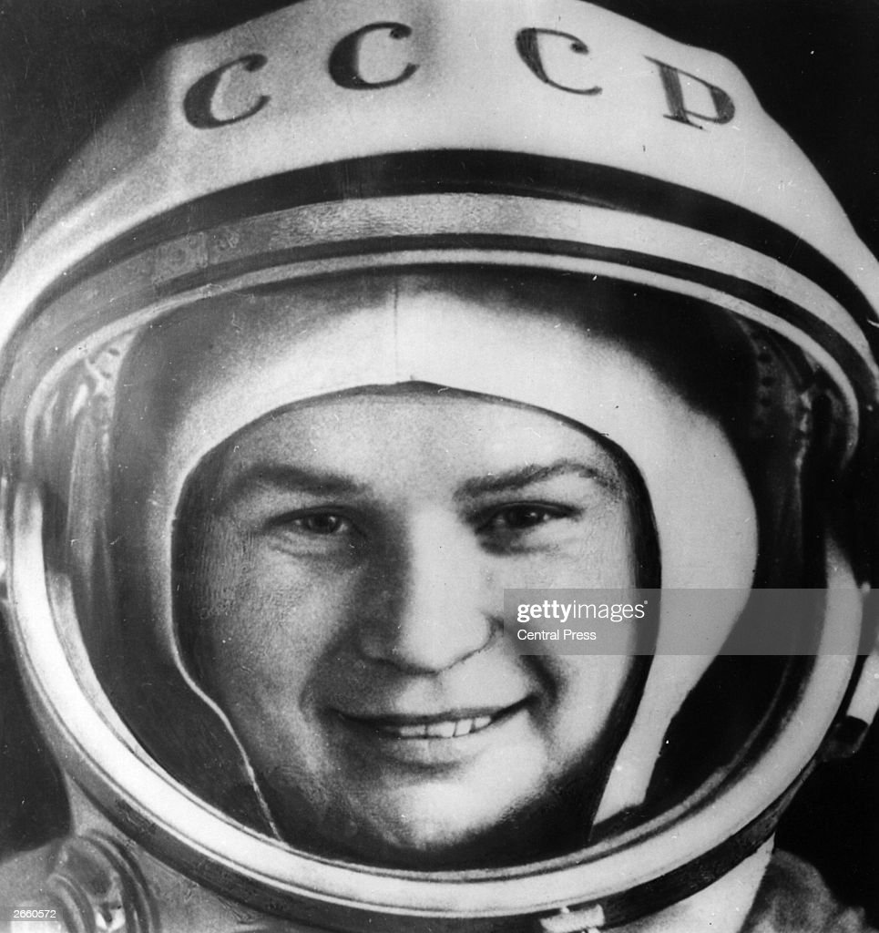 Valentina Tereshkova, who became the first woman in space, photographed in her space suit shortly before take off.