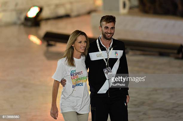 Valentina Vezzali and Daniele Garozzo during Conference Sport at service of humanity at the Vatican on october 05 2016 The goal of the conference is...