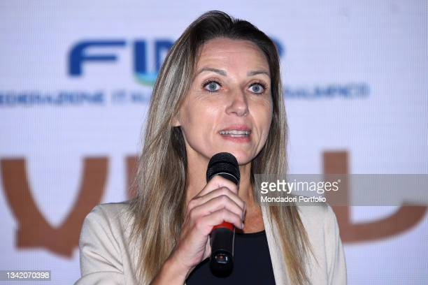 Valentina Vezzali on the blue carpet of the Gala I Meravigliosi, an event organized by the Italian swimming federation to celebrate the medals won at...