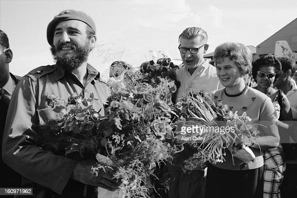 Valentina Vladimirovna Tereshkova the first woman in space arrives at Havana Airport on a fiveday visit to Cuba in October 1963 Fidel Castro and...