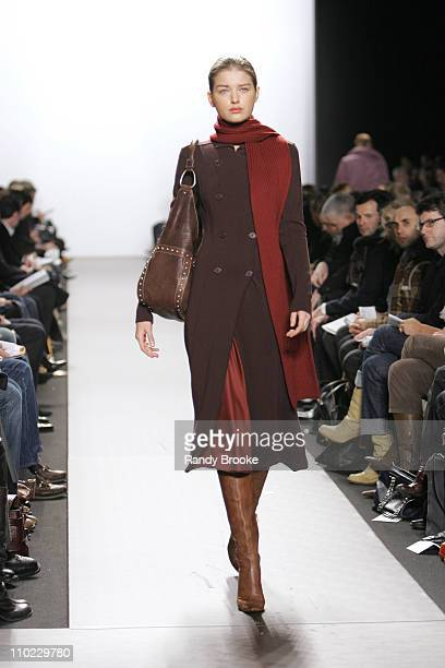 Valentina Zeliaeva wearing Kenneth Cole Fall 2005 during Olympus Fashion Week Fall 2005 Kenneth Cole Runway at The Tent Bryant Park in New York City...