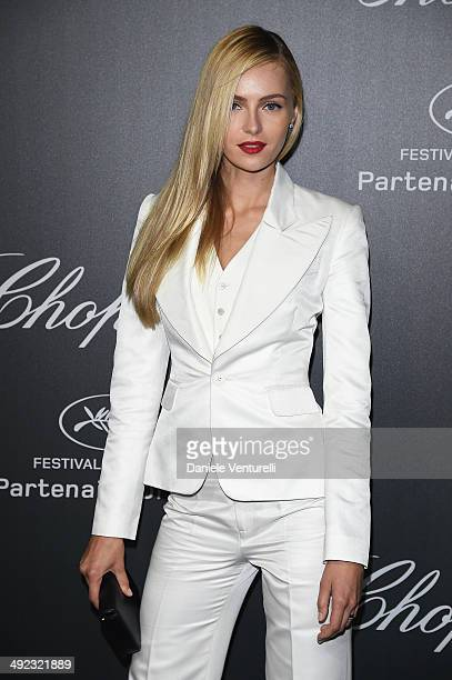 Valentina Zelyaeva arrives to the Chopard Backstage Dinner Afterparty at the CannesMandelieu Aerodrome during the 67th Annual Cannes Film Festival on...