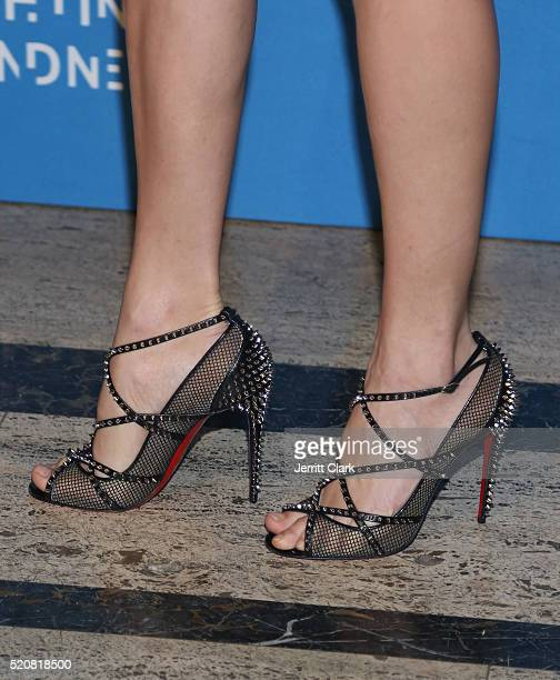 Valentina Zelyaeva shoe detail attends the 2016 Foundation Fighting Blindness World Gala at Cipriani Downtown on April 12 2016 in New York City