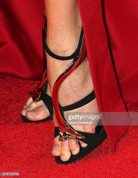 Valentina Zelyaeva shoe detail attends the New Yorkers for Children's Spring Dinner Dance A Fool's Fete at Mandarin Oriental New York on April 7 2016...