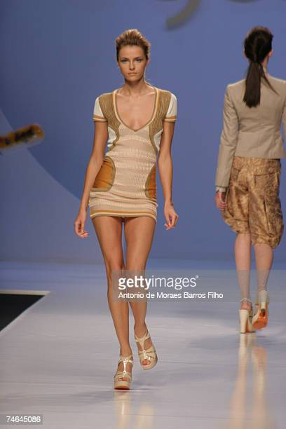 Valentina Zelyaeva wearing Byblos Spring/Summer 2007 in Milan Italy
