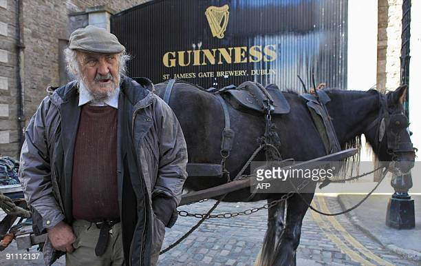 Valentine Bolger once employeed by Guiness to deliver beer by horse and cart is pictured outside the Guinness brewery in Dublin September 24 ahead of...