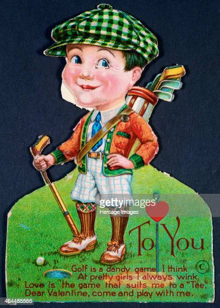 Valentine card with a golfing theme American 1930s On this card the bag of clubs moves and the right eye on the dolllike figure winks