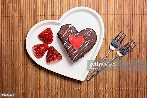 Valentine chocolate heart cake