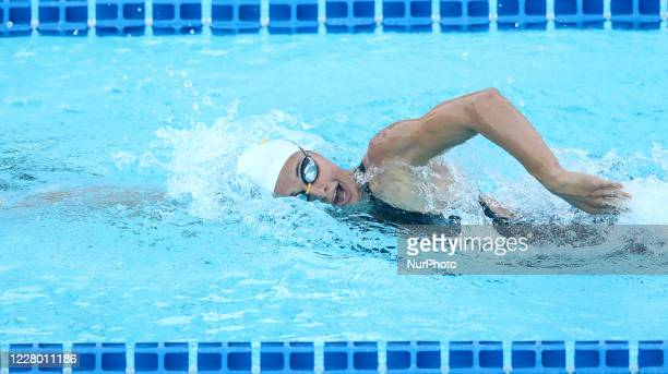 Valentine Dumont competes in the women's 400m freestyle during the international swimming trophy Frecciarossa Settecolli in Rome Italy on August 12...
