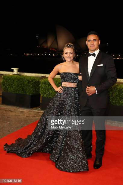 Valentine Holmes and Natalia O'Toole arrive at the 2018 Dally M Awards at Overseas Passenger Terminal on September 26 2018 in Sydney Australia