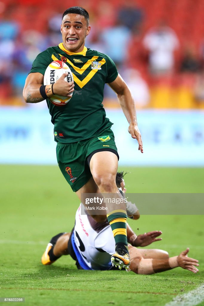 Valentine Holmes of Australia breaks away to score his seventh try during the 2017 Rugby League World Cup Semi Final match between the Australian Kangaroos and Fiji at Suncorp Stadium on November 24, 2017 in Brisbane, Australia.