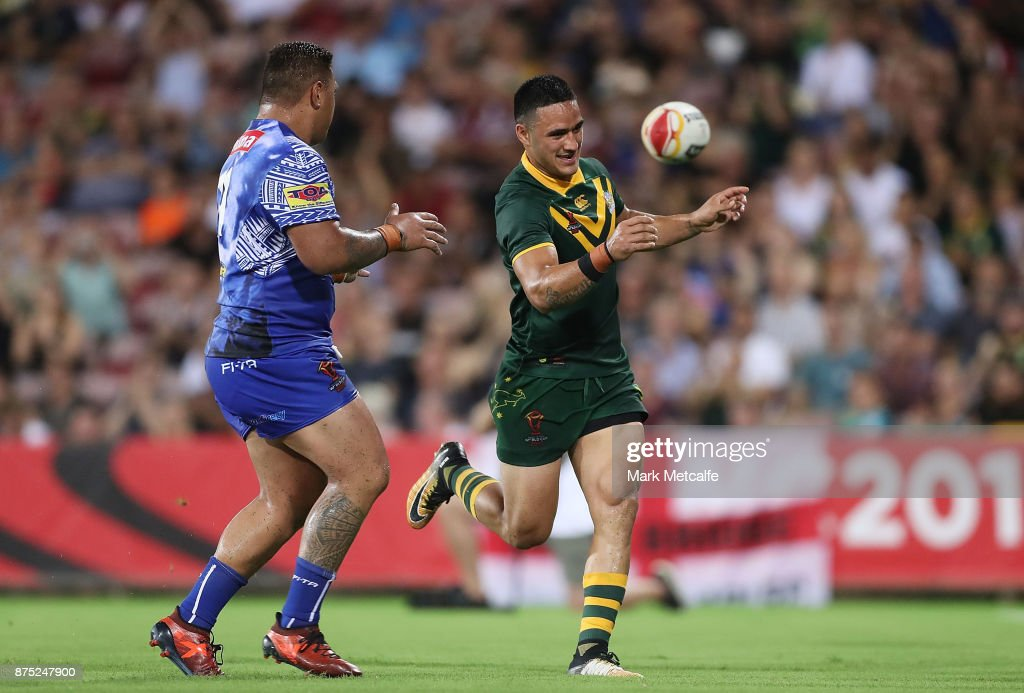 Valentine Holmes of Australia celebrates scoring a try during the 2017 Rugby League World Cup Quarter Final match between Australia and Samoa at Darwin Stadium on November 17, 2017 in Darwin, Australia.