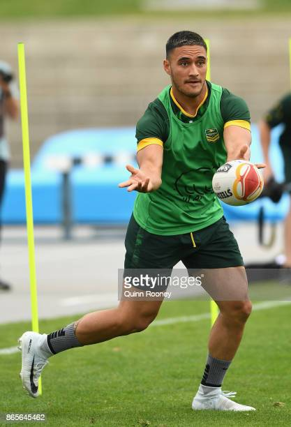 Valentine Holmes of Australia passes the ball during an Australian Kangaroos training session at Lakeside Stadium on October 24 2017 in Melbourne...