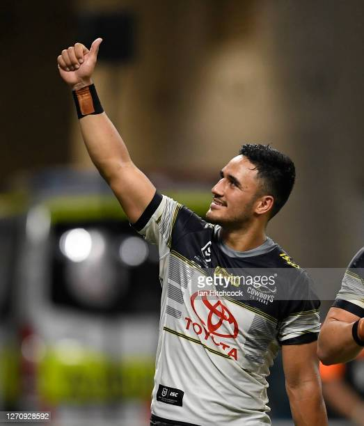Valentine Holmes of the Cowboys waves to the crowd after winning the round 17 NRL match between the North Queensland Cowboys and the St George...