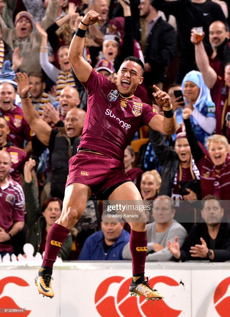 Valentine Holmes of the Maroons celebrates scoring a try during game three of the State Of Origin series between the Queensland Maroons and the New South Wales Blues at Suncorp Stadium on July 12, 2017 in Brisbane, Australia.